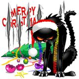 Evil Black Cat Broken Christmas Tree vector illustration