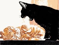 Evil black cat threatens the red cat. Eps-8 Royalty Free Stock Photos