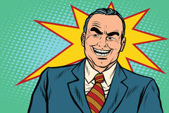 Evil boss laughs. Pop art retro vector illustration Royalty Free Stock Images