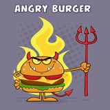 Evil Burger Cartoon Character Holding A Trident Over Flames Royalty Free Stock Photography