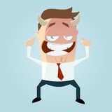 Evil business cartoon man Stock Photography