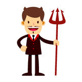 Evil Businessman in Suit Holding Trident royalty free illustration