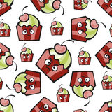 Evil cake or muffin. Muffin comic character. Resentful hand-drawn cake, ice cream or frozen yogurt  seamless pattern. Childish background with cherry for print Stock Images