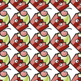 Evil cake or muffin. Muffin comic character. Resentful hand-drawn cake, ice cream or frozen yogurt  seamless pattern. Childish background with cherry for print Royalty Free Stock Images