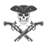 Evil captain skull in cocked hat vector. Jolly Royalty Free Stock Images