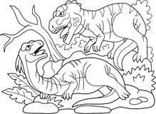 Evil carnivorous predator attacked a herbivorous dinosaur. Coloring book, evil carnivorous predator attacked a herbivorous dinosaur royalty free illustration
