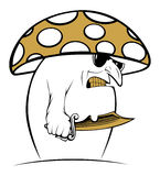 Evil cartoon mushroom Royalty Free Stock Image