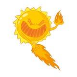 Evil cartoon sun. Caricature of sunburn, sunstroke, harmful ultraviolet rays Royalty Free Stock Images