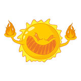 Evil cartoon sun Stock Image