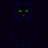 Evil cat on a dark background vector silhouette Royalty Free Stock Photography