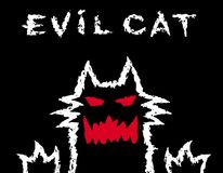 Evil cat dark silhouette. Vector illustration. royalty free illustration
