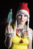 Evil christmas girl Stock Photography