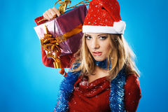 Evil Christmas girl Royalty Free Stock Photography