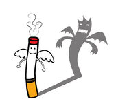 Evil cigarette character. Represent a smiling good innocent and angelic looking cigarette character but have evil shadow behind. Well layered vector .AI10 file Royalty Free Stock Images