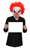 Evil Clown. A clown with scary teeth,red hair and red nose with a blank banner stock image