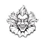 Evil clown portrait adult coloring page. Evil clown adult coloring page Stock Photography