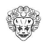 Evil clown art. Halloween mask illustration vector illustration