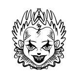 Evil clown art. Halloween mask illustration royalty free illustration