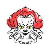 Evil clown art. Halloween mask illustration stock illustration