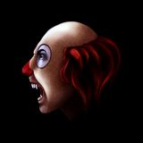 Evil clown. Bald evil clown with sharp teeth portrait Royalty Free Stock Photography