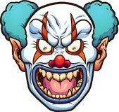 Evil clown. Evil cartoon clown head. Vector clip art illustration with simple gradients. All in a single layer Royalty Free Stock Photography