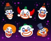 Evil clown cartoon spooky set. Evil clown cartoon halloween spooky set buttons Stock Photos