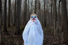 Evil clown in a dark forest in a white veil stock image