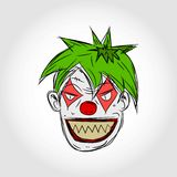 Evil Clown Face. Cartoon Illustration Royalty Free Stock Photos