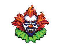 Evil clown halloween illustration. In nand drawn style Royalty Free Stock Images