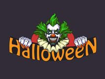 Evil clown halloween illustration. In nand drawn style Stock Photo
