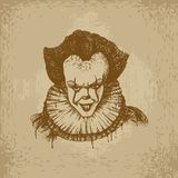 Evil Clown Illustration. Evil clown head. Hand drawn  stock illustration Stock Photos