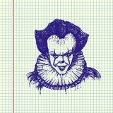 Evil Clown Illustration. Evil clown head. Hand drawn  stock illustration. Sheet ball pen drawing Stock Image