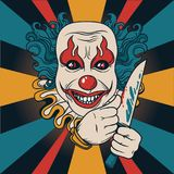 Evil clown with knife. Can be used as banner for halloween, vector illustration Royalty Free Stock Image