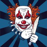 Evil clown with knife. Can be used as banner for halloween, vector illustration Stock Photography