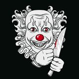 Evil clown with knife. Can be used as banner for halloween, vector illustration Royalty Free Stock Photo