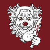 Evil clown with knife. Can be used as banner for halloween, vector illustration Stock Images