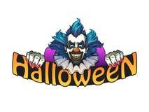 Evil clown halloween illustration. Evil clown on a white background halloween illustration Stock Image