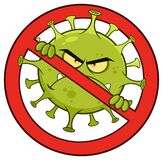 Evil Coronavirus COVID-19 Cartoon Character of Pathogenic Bacteria In A Prohibited Symbol.