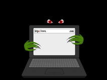 Evil Creature Lurking Behind Open Laptop. Evil Creature with Claws Lurking Behind Open Laptop Royalty Free Stock Photography