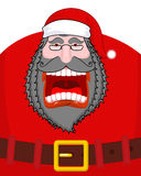 Evil  dark Santa Claus shouts. Black beard and mustache and Belt. Negative grandfather. Aggressive old man. Unhappy pensioner. Christmas illustration Royalty Free Stock Photography