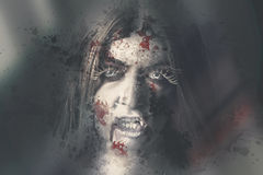 Evil dead vampire woman looking in bloody window. Horror scene of an evil dead vampire woman looking through bloody wet glass window with sinister stare. Night Stock Images