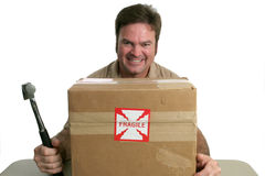Evil Delivery Man. A delivery man with a package marked fragile.  He is about to hit it with a hammer Royalty Free Stock Photos