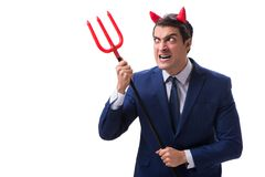 Evil devil businessman with pitchfork isolated on white backgrou Royalty Free Stock Photo