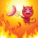 Evil devil roast sausage on picnic Royalty Free Stock Image