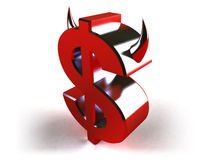 Evil dollar. Red dollar with horns, 3d generated Stock Image
