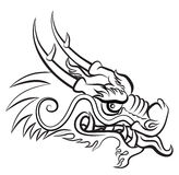 Evil Dragon. Head. Artwork inspired with traditional Chinese and Japanese dragon arts stock illustration