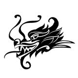 Evil dragon head. Artwork inspired with traditional Chinese and Japanese dragon arts. Evil dragon head. Artwork inspired with traditional Chinese and Japanese Stock Photo