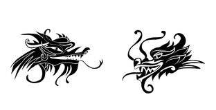 Evil dragon head. Artwork inspired with traditional Chinese and Japanese dragon arts. Evil dragon head set. Artwork inspired with traditional Chinese and Royalty Free Stock Image