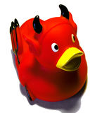 Evil duck. Evil red plastic duck toy Royalty Free Stock Image