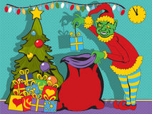 Evil elf with gifts Stock Images
